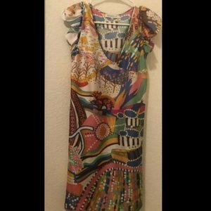 See by Chloe Printed Silk V Neck Ruffle Dress 4